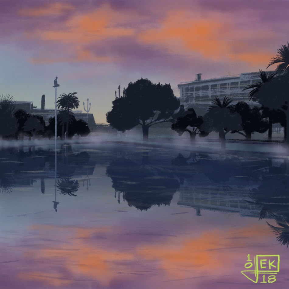 Redrawn picture of a sunset at a plaza in Nice, France.